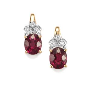 Comeria Garnet & Diamond 18K Gold Tomas Rae Earrings MTGW 4.73cts