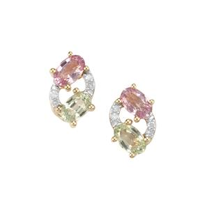 Natural Sakaraha Rainbow Sapphire & Diamond 10K Gold Earrings ATGW 1.22cts