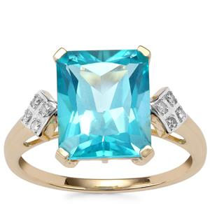 Batalha Topaz Ring with Diamond in 10K Gold 5.34cts