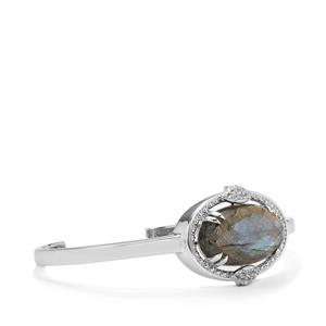 Labradorite Cuffs with White Topaz in Sterling Silver 17.39cts