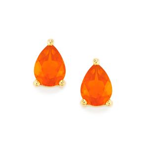 AAA Orange American Fire Opal Earrings in 10k Gold 1.52cts