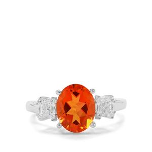 Padparadscha Quartz & White Zircon Sterling Silver Ring ATGW 2.60cts