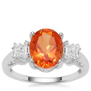 Padparadscha Quartz Ring with White Zircon in Sterling Silver 2.60cts