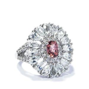 Pink Tourmaline & White Topaz Sterling Silver Ring ATGW 5.71cts