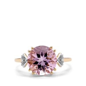 Rose De France Amethyst & Diamond 9K Gold Ring ATGW 3.32cts