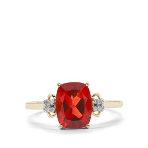 Tarocco Red Andesine & Diamond 9K Gold Ring ATGW 1.59cts