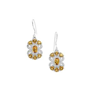 Scapolite & White Zircon Sterling Silver Earrings ATGW 2.85cts