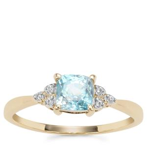 Ratanakiri Blue Zircon Ring with White Zircon in 9K Gold 1.35cts