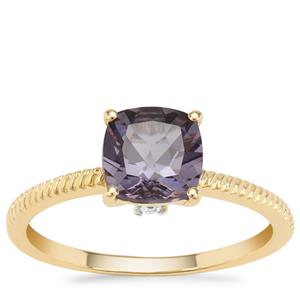 Blueberry Quartz Ring with White Zircon in 9K Gold 1.29cts