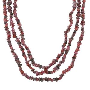 350ct Ruby Sterling Silver Nugget Bead 3 line Necklace