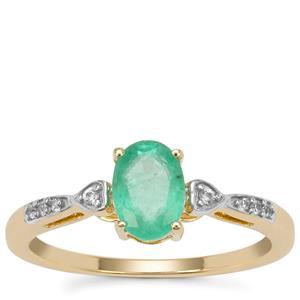 Malysheva Emerald Ring with White Zircon in 9K Gold 0.77ct