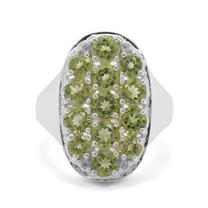 Changbai Peridot & White Zircon Sterling Silver Ring ATGW 3.41cts