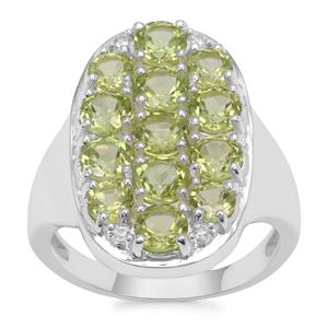 Changbai Peridot Ring with White Zircon in Sterling Silver 3.41cts