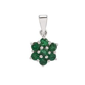 Luhlaza Emerald Pendant in Sterling Silver 1.25cts
