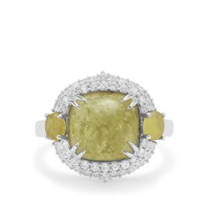 Grossular Ring with White Zircon in Sterling Silver 6.85cts