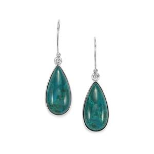 Chrysocolla Earrings in Platinum Plated Sterling Silver 15.94cts