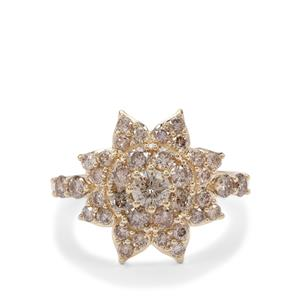 Cape Champagne Diamond Ring in 9K Gold 1.50cts