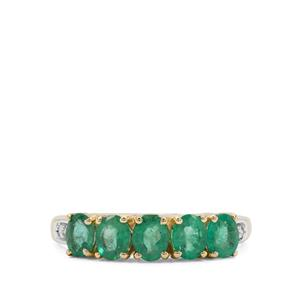 Zambian Emerald Ring with Diamond in 9K Gold 1.21cts