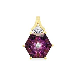 Lehrer TorusRing Ametista Amethyst Pendant with Diamond in 10k Gold 2.87cts