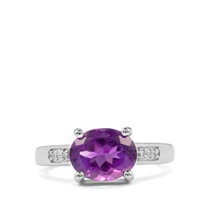 Zambian Amethyst & White Topaz Sterling Silver Ring ATGW 2.90cts