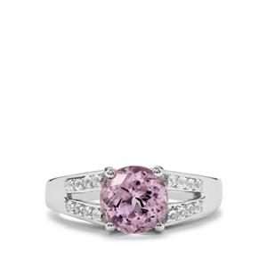 Minas Gerais Kunzite & White Topaz Sterling Silver Ring ATGW 2.46cts