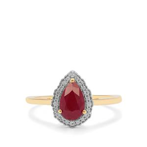 Burmese Ruby Ring with White Zircon in 9K Gold 1.20cts