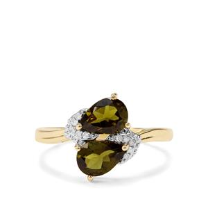 Chrome Tourmaline & Diamond 9K Gold Ring ATGW 1.17cts