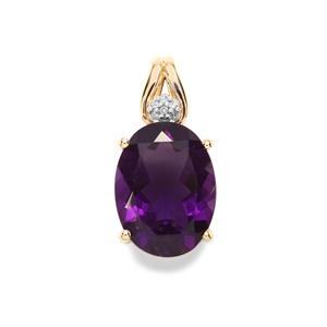 Zambian Amethyst Pendant with Diamond in 9K Gold 8.39cts