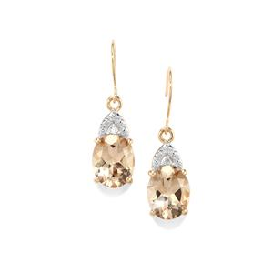 Champagne Danburite Earrings with Diamond in 10k Gold 4.83cts