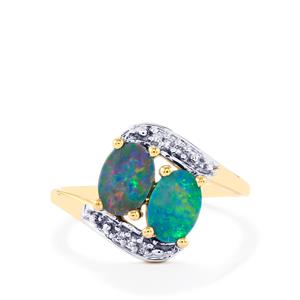 Boulder Opal Ring with Diamond in 10k Gold