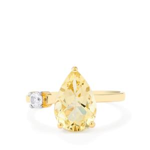 Serenite Ring with White Zircon in 10k Gold 2.85cts