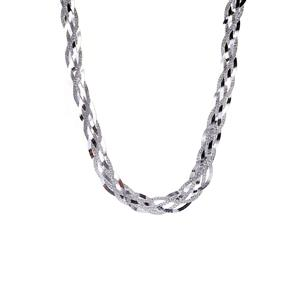 "17"" Sterling Silver Altro Patterned & Polished 6-Strand Plaited Herringbone Necklace 16.25g"