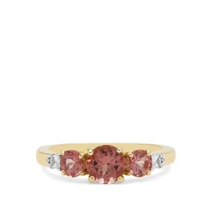 Rosé Apatite Ring with White Zircon in 9K Gold 1.64cts