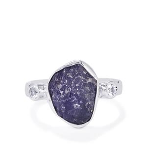 Tanzanite & White Topaz Sterling Silver Ring ATGW 3.95cts