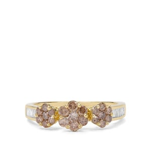 3/4ct Champagne & White Diamond 9K Gold Ring