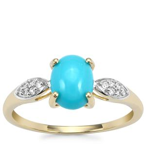 Sleeping Beauty Turquoise Ring with White Zircon in 10K Gold 1.18cts