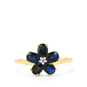 Australian Blue Sapphire Ring with White Sapphire in 10k Gold 1.69cts
