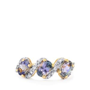 Bi Color Tanzanite Ring with White Zircon in 10k Gold 1.65cts