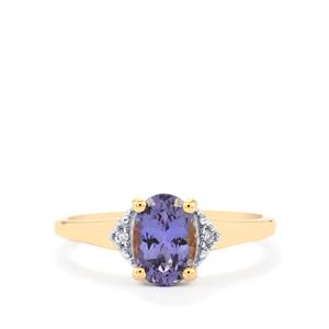 Bi Color Tanzanite Ring with Diamond in 10k Gold 1.36cts
