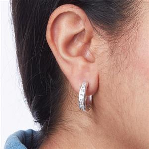 Halo Zircon Hoop Earrings in Sterling Silver