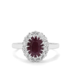Bharat Ruby & White Topaz Sterling Silver Ring ATGW 3.54cts