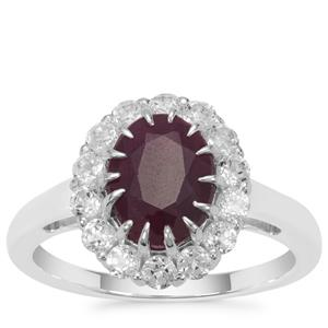 Bharat Ruby Ring with White Topaz in Sterling Silver 3.54cts