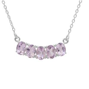 Rose De France Amethyst Necklace in Sterling Silver 4cts