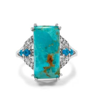 Cochise Turquoise, Neon Apatite & White Zircon Sterling Silver Ring ATGW 8.28cts