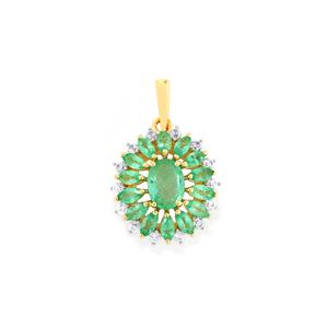 Zambian Emerald Pendant with White Zircon in 10K Gold 2.13cts