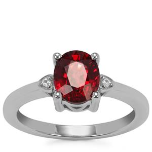 Nampula Garnet Ring with White Topaz in Sterling Silver 1.97cts