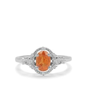 Mandarin Garnet Ring with White Zircon in Sterling Silver 1.22cts