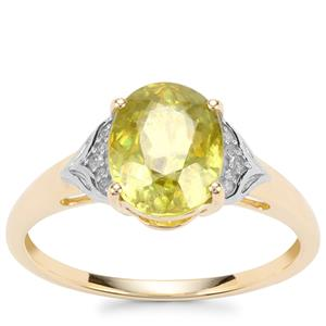 Ambilobe Sphene Ring with Diamond in 10K Gold 2.28cts