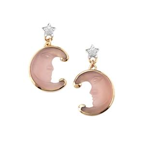 'The Lavender Moon'  Lavender Chalcedony Earrings with Diamond in 10K Gold 7.63cts
