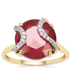 Malagasy Ruby Ring with White Zircon in 9K Gold 8.68cts (F)